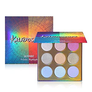 UCANBE Kaleidoscope Holographic Highlighter Makeup Palette Kit, 9 Color Polarized Shimmer Illuminating Glow Highlighting Bronzers Powder Set, Laser Outer Packaging with Mirror Cosmetics