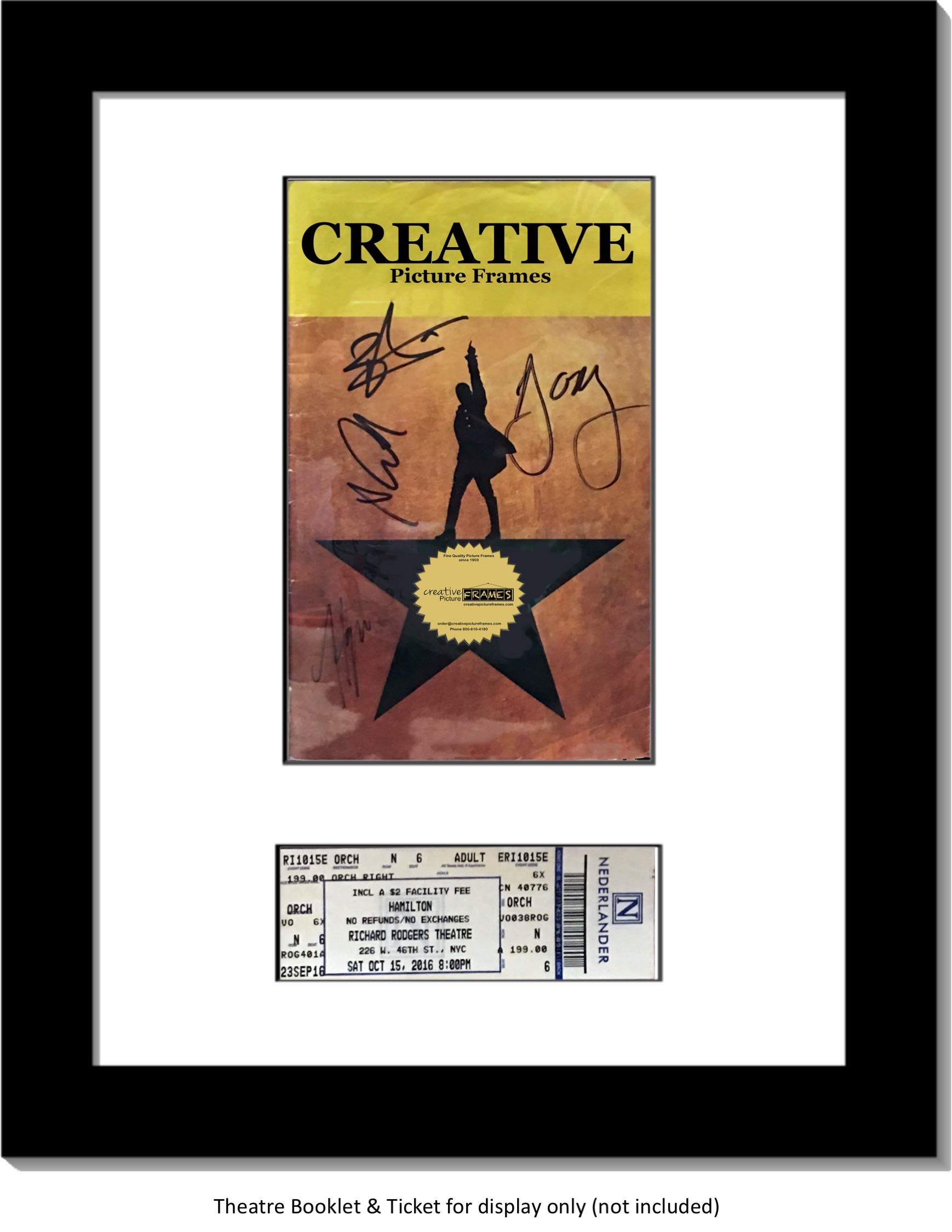 CreativePF [11x14bk-w] Black Theatre Frame with White Matting, Holds 5.5x8.5-inch Media Plus Ticket Including Installed Wall Hanger (Theatre Bill Not Included) by Creative Picture Frames