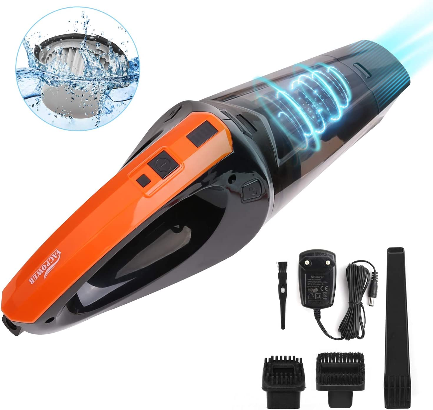VACPOWER Handheld Vacuum Cleaner Cordless, Portable Hand Vacuum Powered by Li-ion Battery Rechargeable Quick Charge Tech, Mini Vacuum Cleaner with Strong Suction for Pet Hair, Home and Car Cleaning