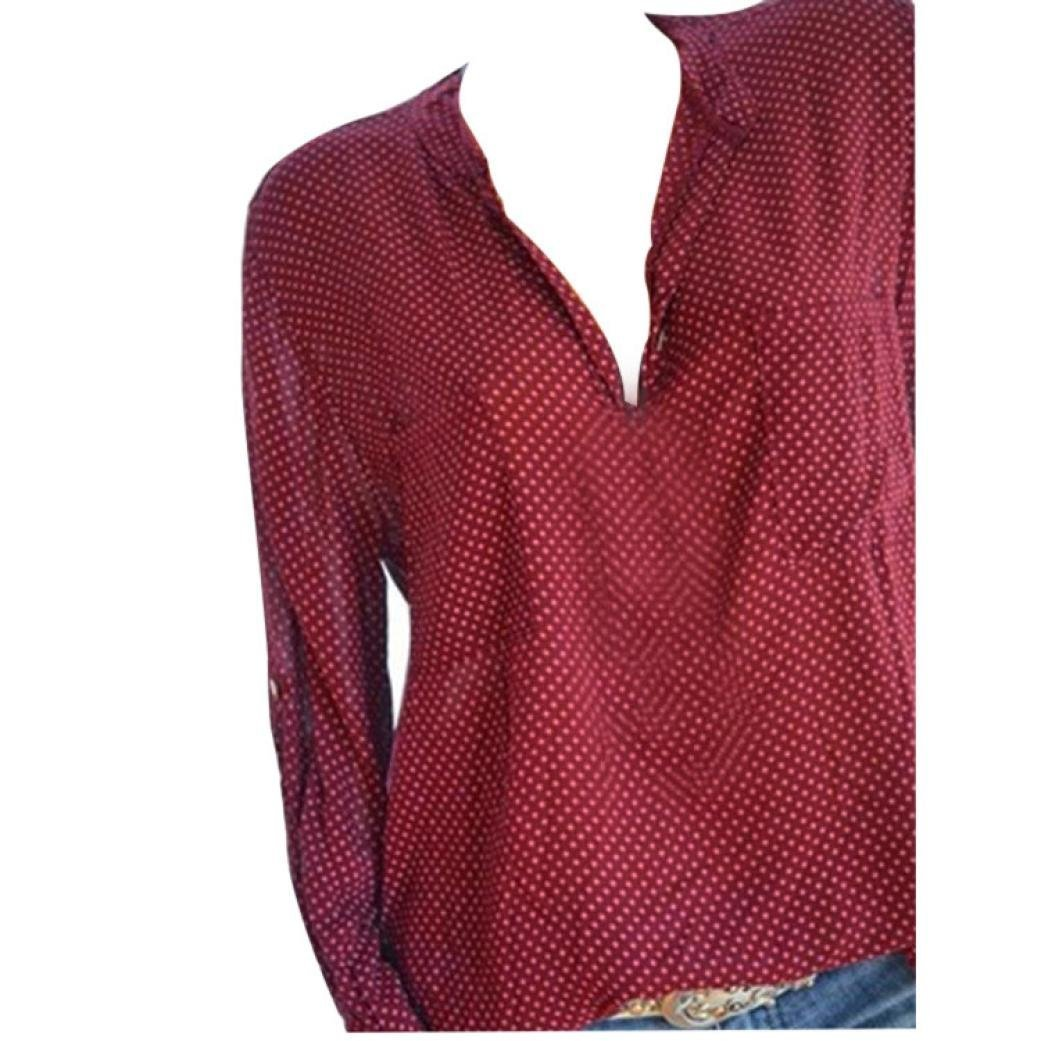 Women Plus Size Dots Henley Shirt V-Neck Roll-up Long Sleeve Top Loose Blouse(Wine ,Small)