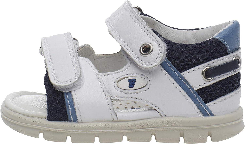 Falcotto Sailing-Sandalo in Pelle e Rete-Bianco//Blu