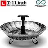 """Steamer Basket – Stainless Steel Steamer Insert with Extendable Plastic Handle, Foldable Legs with Silicone Feet, Folding Expandable Petals, Fit Various Size Pot (8"""" to 12"""")"""