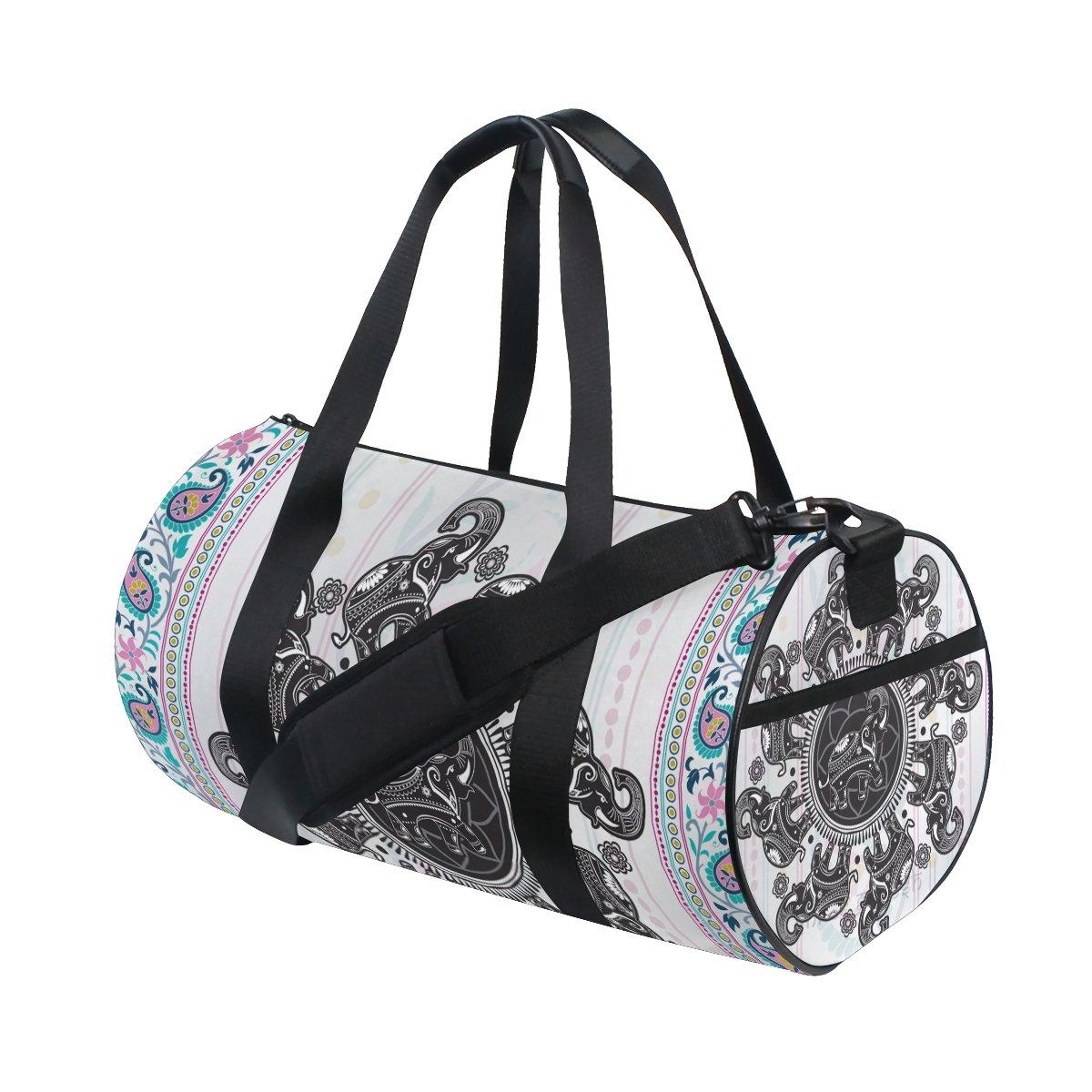 Hippie Indian Elephant Mandala Sports Duffel Bags, Travel Gym Fitness Bag