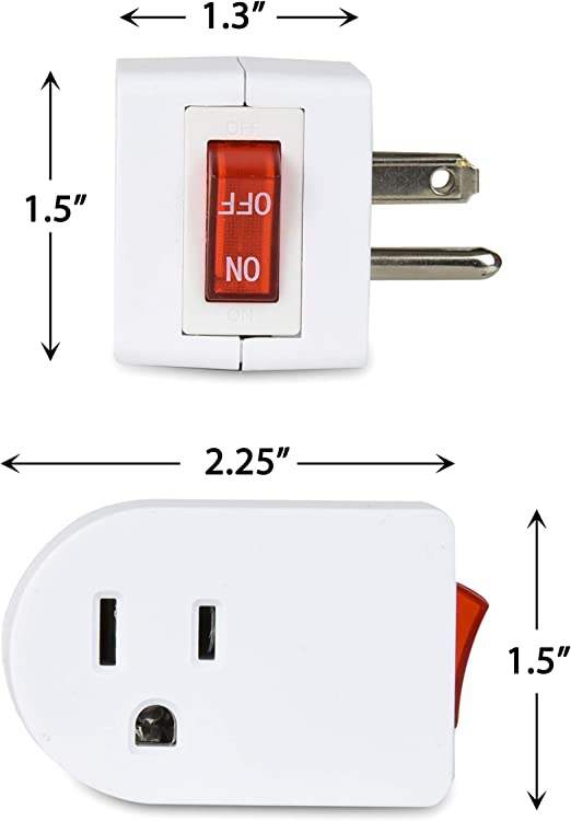 Electes 3 Prong Grounded Single Port Power Adapter with Red Indicator On//Off ...