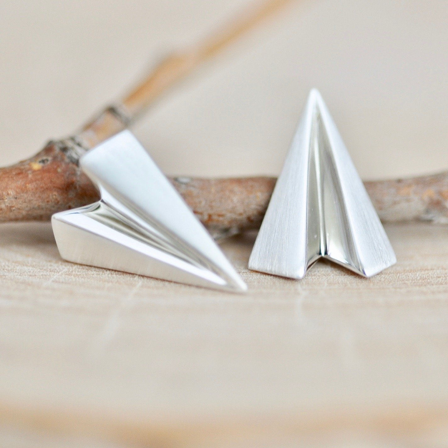 Origami Paper Airplane Stud Earrings Sterling Silver