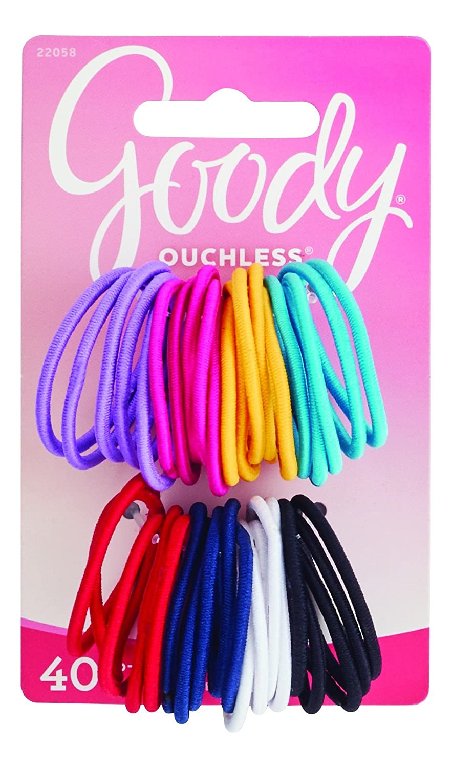 Goody Ouchless Medium Hair Elastics 2mm, 40 Count (Assorted colors) 22058