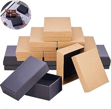 Mengger 12Pcs cajas de cartón kraft pequeñas regalo caja de joyas ...