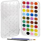 Artlicious - 36 Watercolor Cakes Paint Set with Built In Palette Lid Case & 2 Brushes