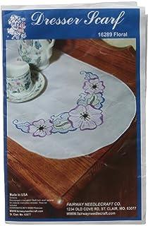 Butterfly Design Fairway 16239 Dresser Scarf Perle Edge White