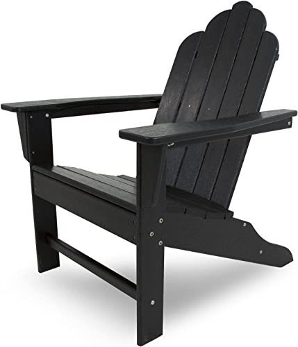 POLYWOOD ECA15BL Long Island Adirondack Chair, Height 38.50 – Width 31.25 – Depth 33.75 , Black
