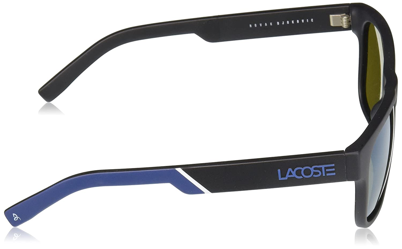 3c6bee84b9813 Lacoste L829snd Plastic Rectangular Novak Djokovic Capsule Collection  Sunglasses, Black, 54 mm