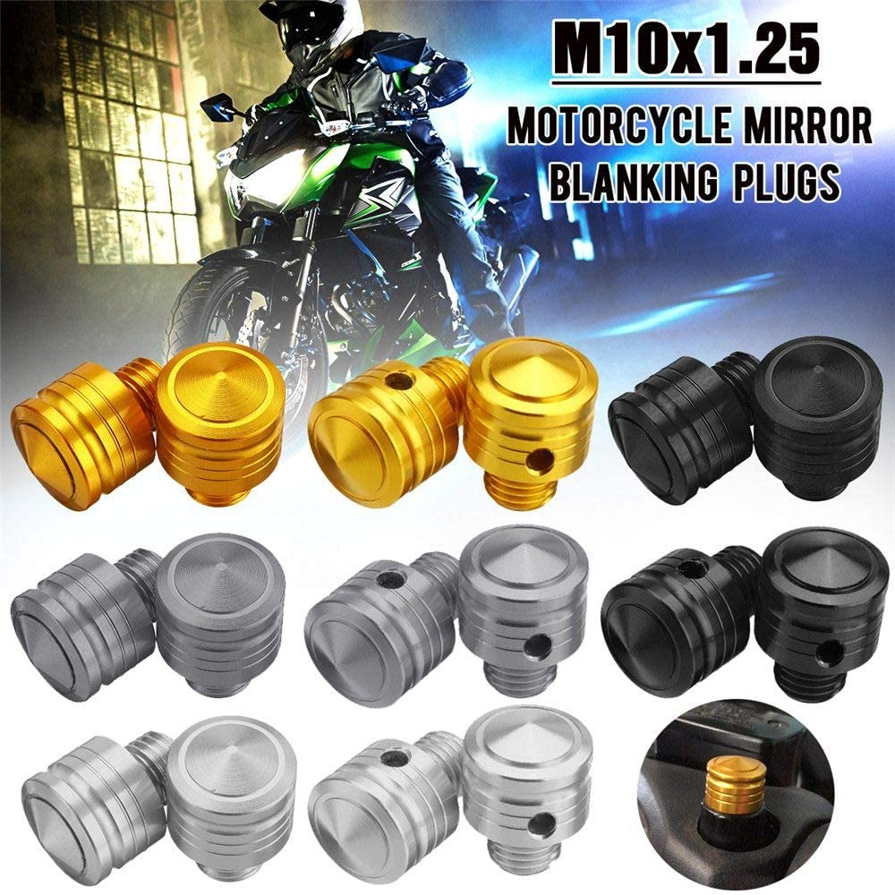 FINCOS 1 Paar M10 x 1,25 10 mm Billet Aluminium Gewinde Motorrad Spiegel Blinding Schrauben D/übel 1 Links 1 rechte Hand