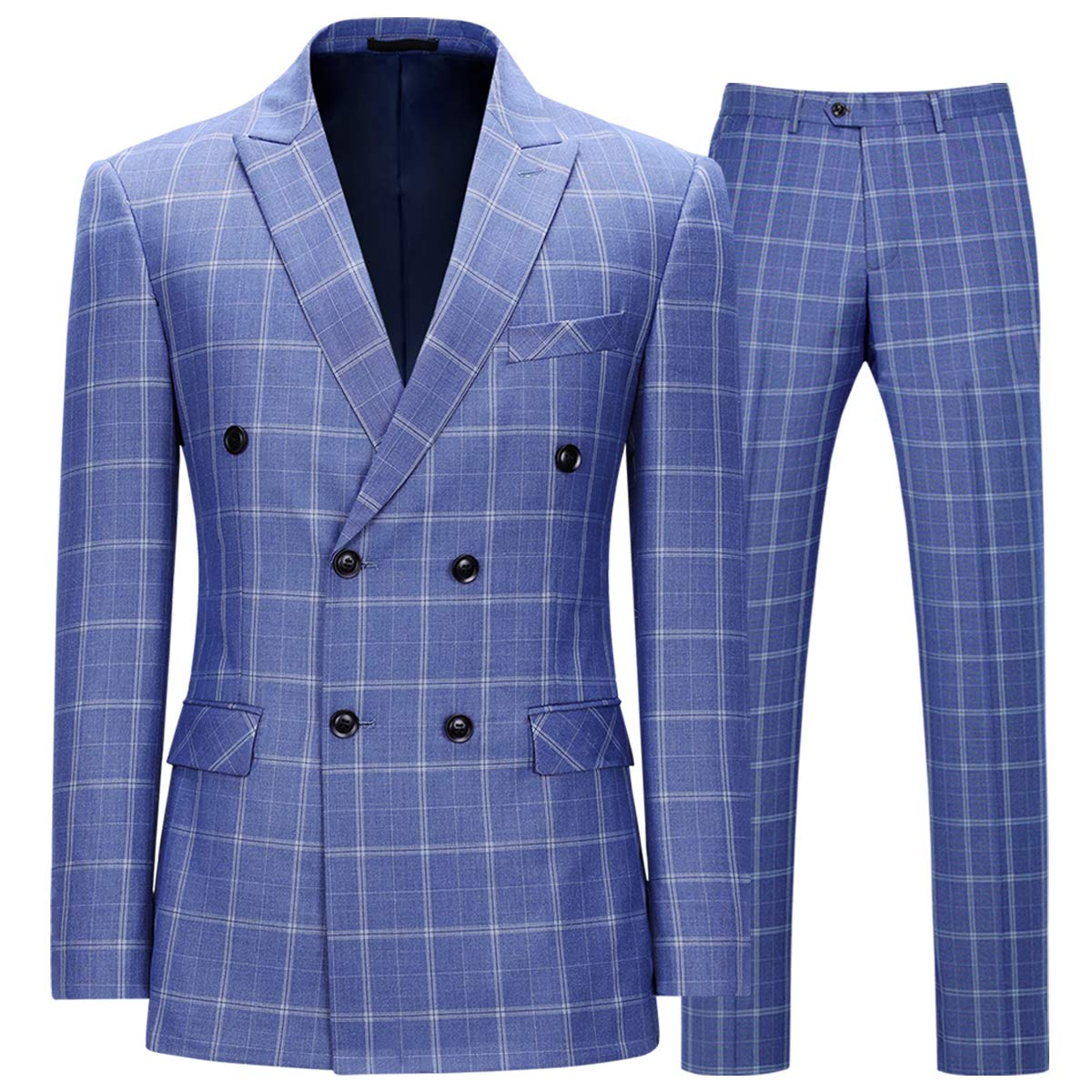 1920s Mens Suits | Gatsby, Gangster, Peaky Blinders Mens 2 Piece Suit Peaked Lapel Slim Fit Plaids Double Breasted Casual Formal Dress Suit Set $89.99 AT vintagedancer.com