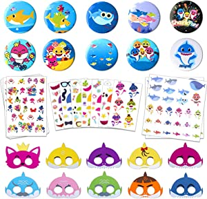 Shark Party Supplies for Baby, Birthday Decorations Party Favors Includes 10 Shark Mask, 10 Shark Badges, 2 Shark Stickers, 4 Tattoo Stickers
