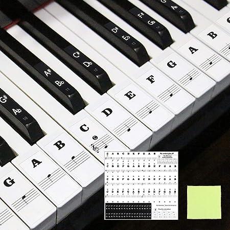 Matogle Pegatinas para Teclado de Piano Etiquetas para Teclas de Piano Transparente Pegatinas Extraíbles de Teclado Electrónico Facilita Aprendizaje ...