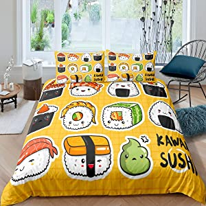 Feelyou Kids Cute Sushi Pattern Bedding Set Japanese-Style Comforter Cover for Girls Children Cartoon Japanese Sushi Duvet Cover Breathable Yellow Grid Plaid Bedspread Cover Room Decor Twin Size
