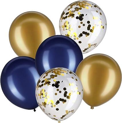 50 Pezzi Palloncini Blu Bianco coriandoli Argento da 12 Pollici per la Festa di Fidanzamento di Nozze YMSZ Palloncini Compleanno
