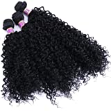 Kinky Curly Synthetic Hair Weave 3 Bundles 16 18 20 Inches Black Synthetic Hair Weft Extensions High Temperature Heat…