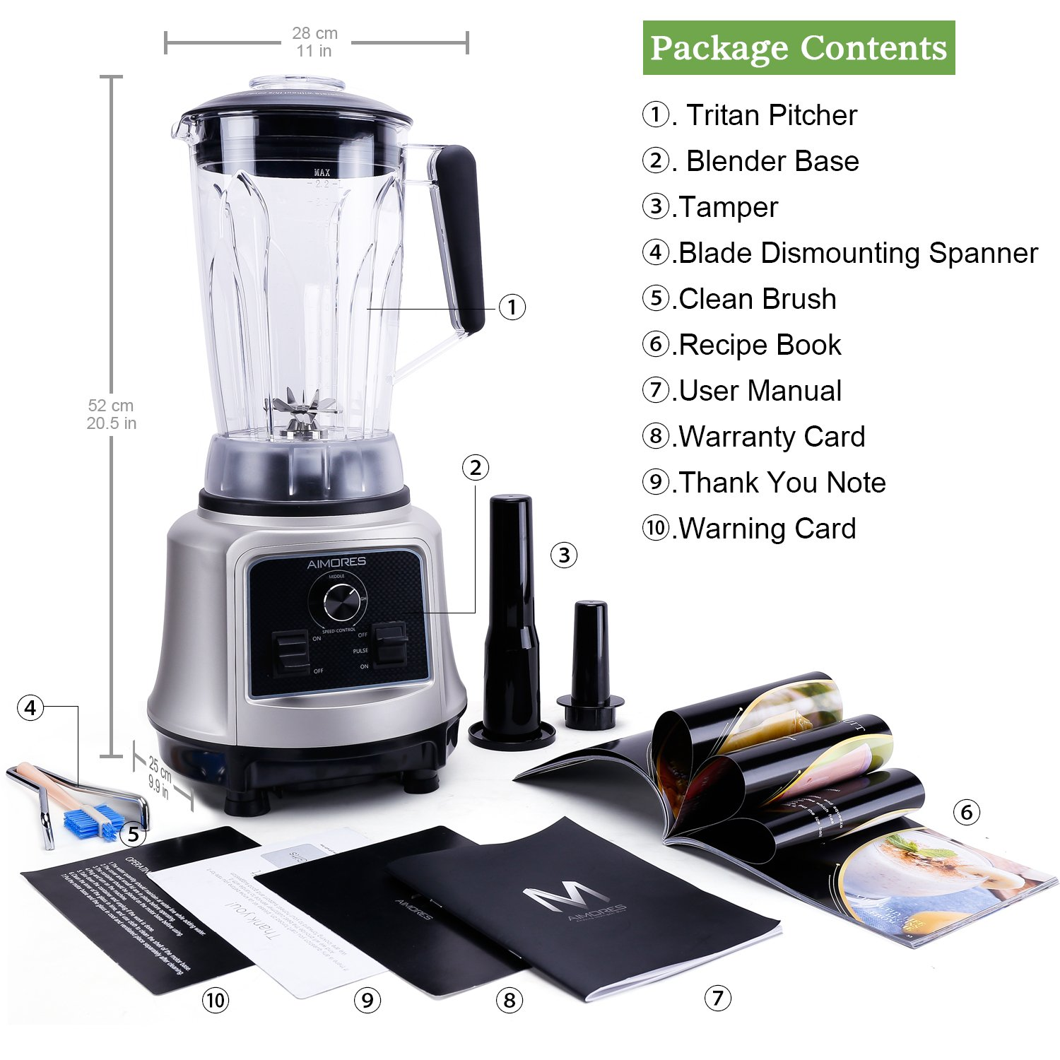 Professional Smoothie Blender Aimores | 750z High Speed Juicer, Ice Cream Maker | Optimized 6 Sharp Blades | Auto Clean & Simple Control | w/ Recipe & Tamper | ETL & FDA Certified (Silver) by ISUN (Image #6)