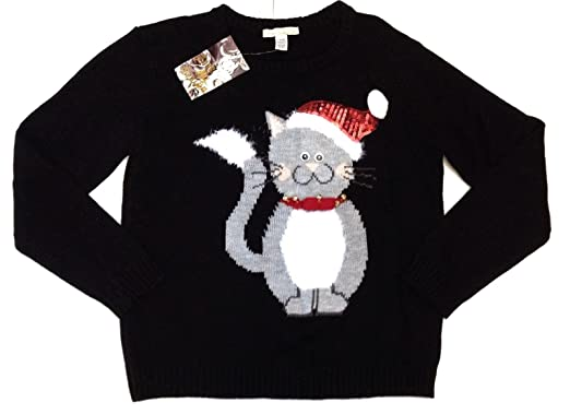 6ace9a1c8b34 Love by Design Kitty Bell Ugly Cute Holiday Christmas Cat Sweater (X-Large)