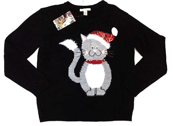 Christmas Cat Sweater.Love By Design Kitty Bell Ugly Cute Holiday Christmas Cat