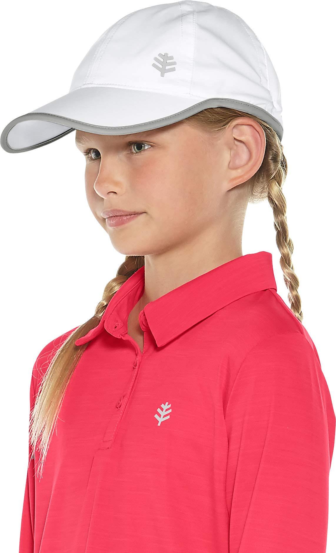 Coolibar UPF 50+ Kids' Sport Cap - Sun Protective (Small/Medium- White/Silver)