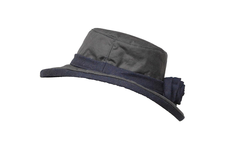 Walker & Hawkes - Ladies Wax Windsor Rose Hat Wide Brim with Flower - Navy