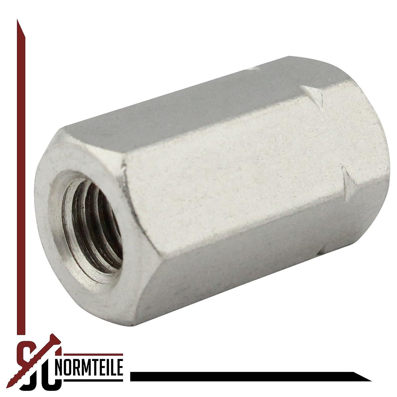 Sechskantmuffen - M16x50 - 5 St/ück L/änge: 50 mm - Langmuttern Edelstahl A2 - SC9179 SC-Normteile - Gewindemuffen in Sechskant-Ausf/ührung Distanzmuffen V2A