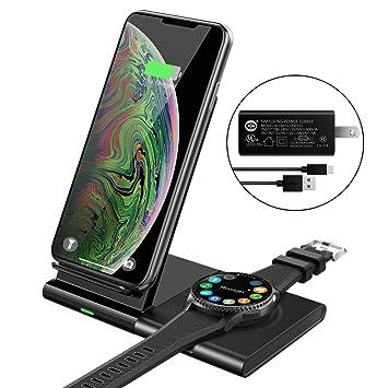 MoKo Qi Cargador Inalámbrico, Magnético Carga rápida Cargador Duo Compatible con Samsung Galaxy Watch 42/46mm, Galaxy Buds, Gear S3/Galaxy Watch ...