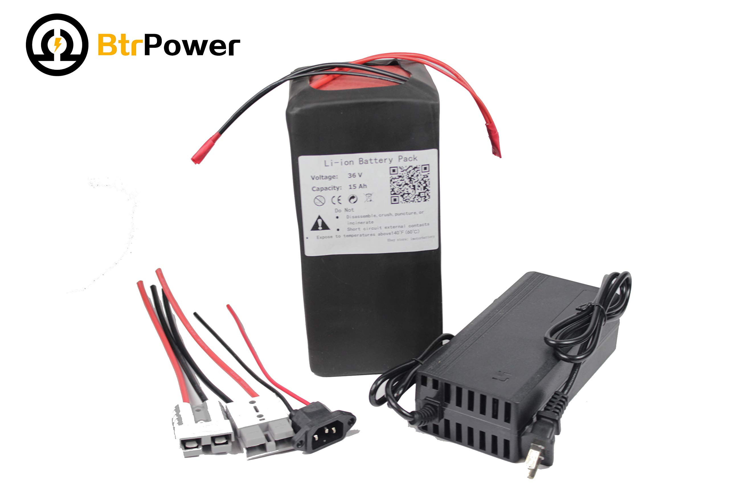 BtrPower 36V 10Ah 15Ah Ebike Battery Lithium ion LiFeO4 Battery with 3A Battery Charger Suitable for 500w 750w Scooter Electric Bike Motor (36V 15Ah)