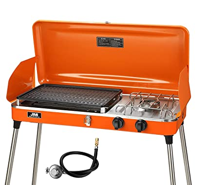 93e114e1d4d4db JIMI Portable Two Burner Grill/StovePropane Grill for Picnic Portable Gas  Grill with Hose and