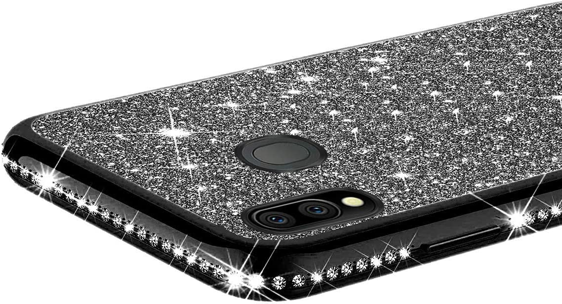 Herbests Compatible with Huawei P Smart 2019 Case for Girls Glitter Diamond Rhinestone Luxury Sparkly Bling Electroplating Soft Clear Ultra-Thin Silicone Gel Rubber Back Cover,Black