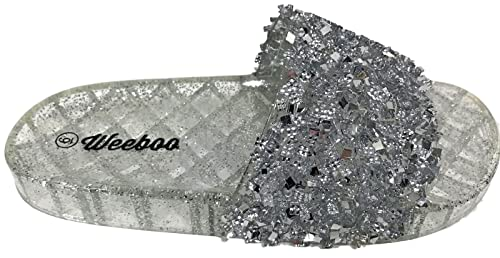 6b604aecd Weboo Jelly-01 Open Toe Slides Sequin Glitter Sparkle Flip Flops Sandals  Silver 6