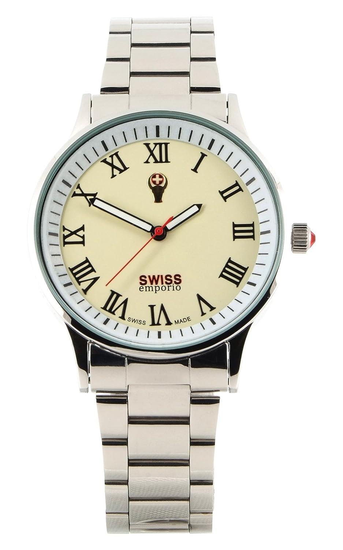 Swiss Emporio Herren Armbanduhr Analog Quarz beiges Zifferblatt und silberfarbenes Edelstahl-Band SE01CRSL50 hergestellt