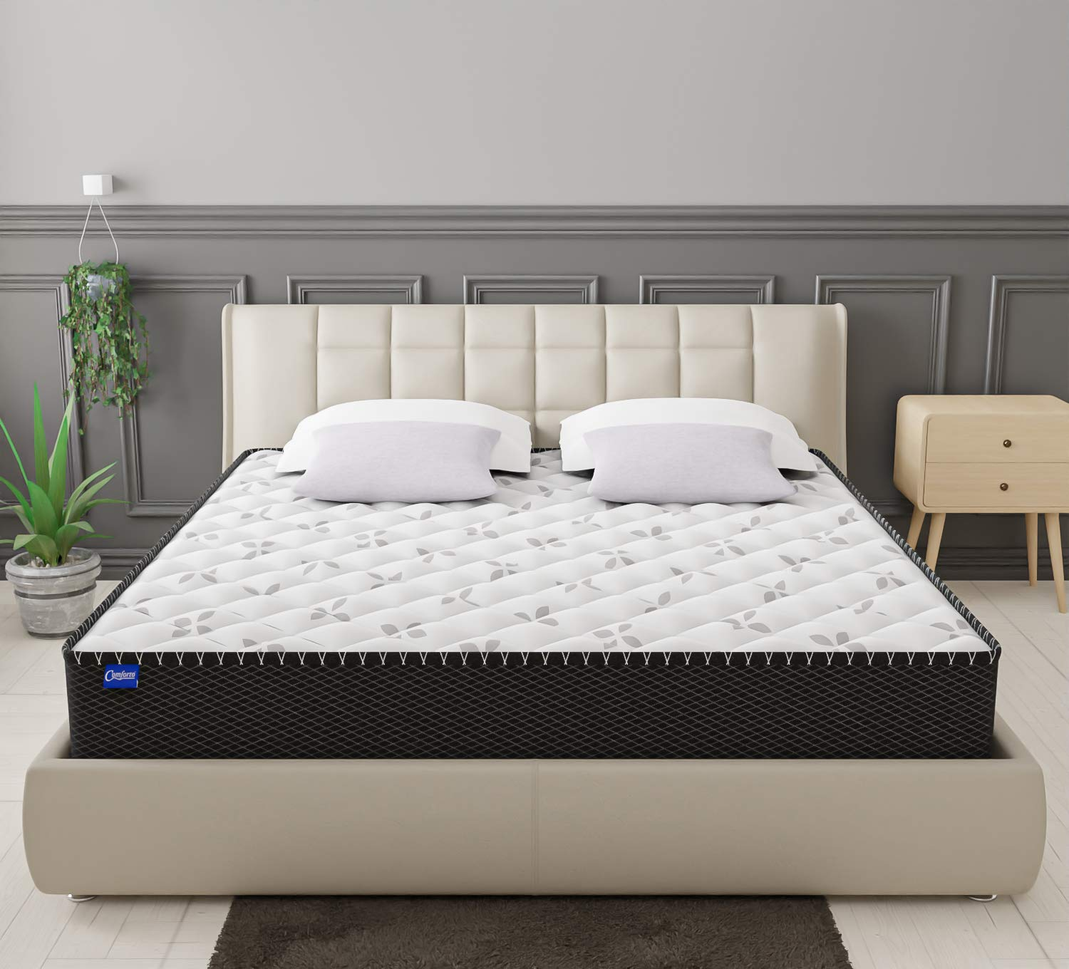 Comforto Hybrid 8 Inch King Size Pocket Spring with Memory Foam Mattress (78x70x8 Inches)