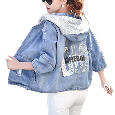 New Fashion Women Denim Jacket Girls Casual Slim Ripped Hole Jeans