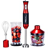 Hand Blender 3 in 1 800 W 20 Speed Immersion Blender with 500ml Food Processor, 800ml Beaker and Whisk Attachments, Robust Stainless Steel, Red/Black (HB-1250T) – 3 Years Warranty