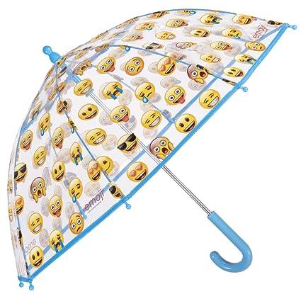 Emoji Paraguas Transparente de Cupula - Paraguas Infantil Largo de Burbuja Niño Niña - Estampado Emoticones Oficiales de Whatsapp - Resistente ...