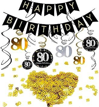 Tischkonfetti zum 80 Geburtstag in gold schwarz silber Geburtstagsdeko Swirl