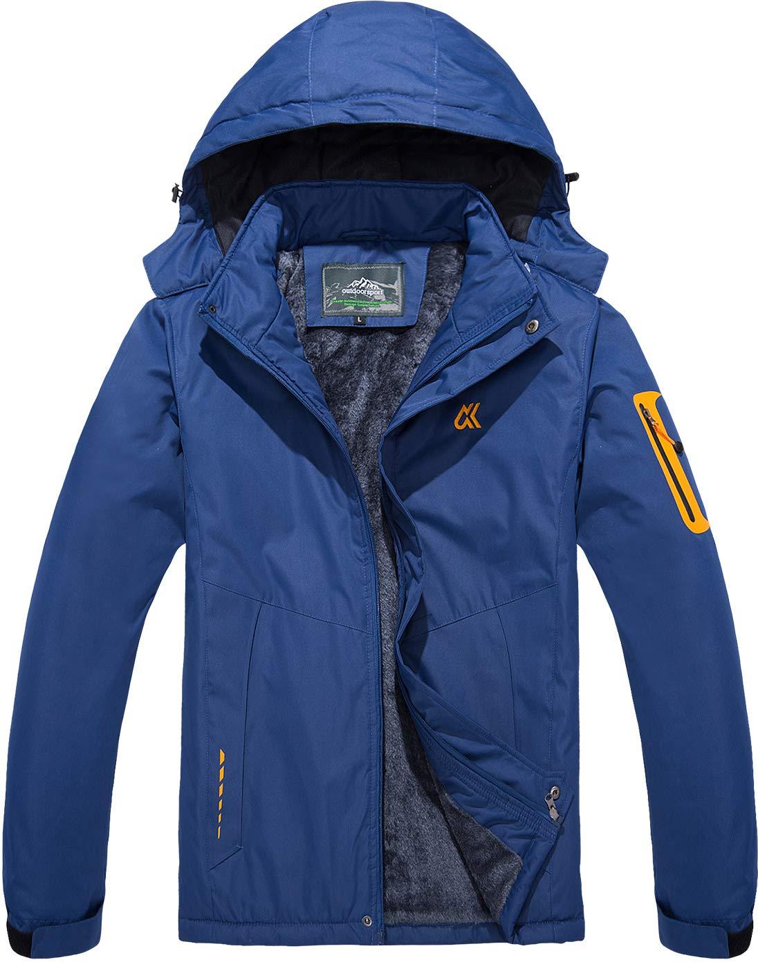 TACVASEN Herren Winterjacke Warme Fleece-Futter Skijacken Winddichte Outdoor Funktionsjacke Freizeitjacke mit Abnehmbarer Kapuze