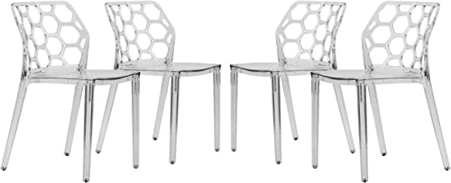 LeisureMod Lowell Modern Stackable Honeycomb Design Dining Side Chair