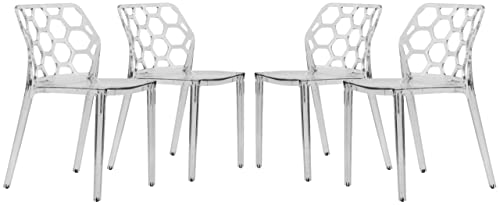 LeisureMod Lowell Modern Stackable Honeycomb Design Dining Side Chair, Set of 4 Clear