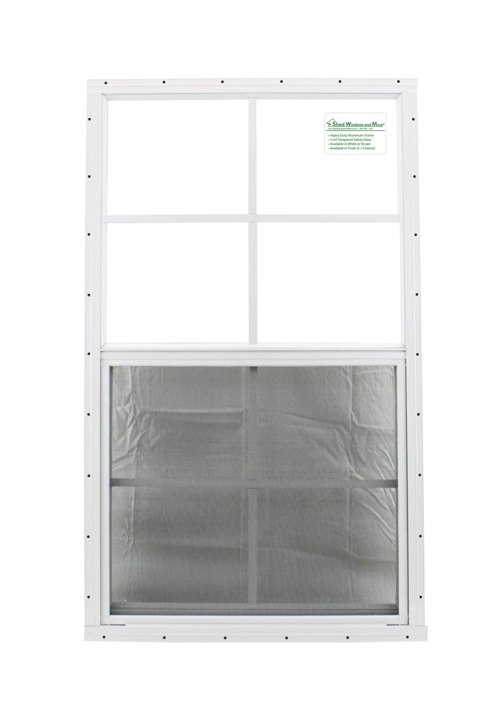 Shed Windows 24'' X 36'' White Flush Mount Safety/Tempered Glass, Playhouse Windows, Chicken Coop Windows by Shed Windows and More