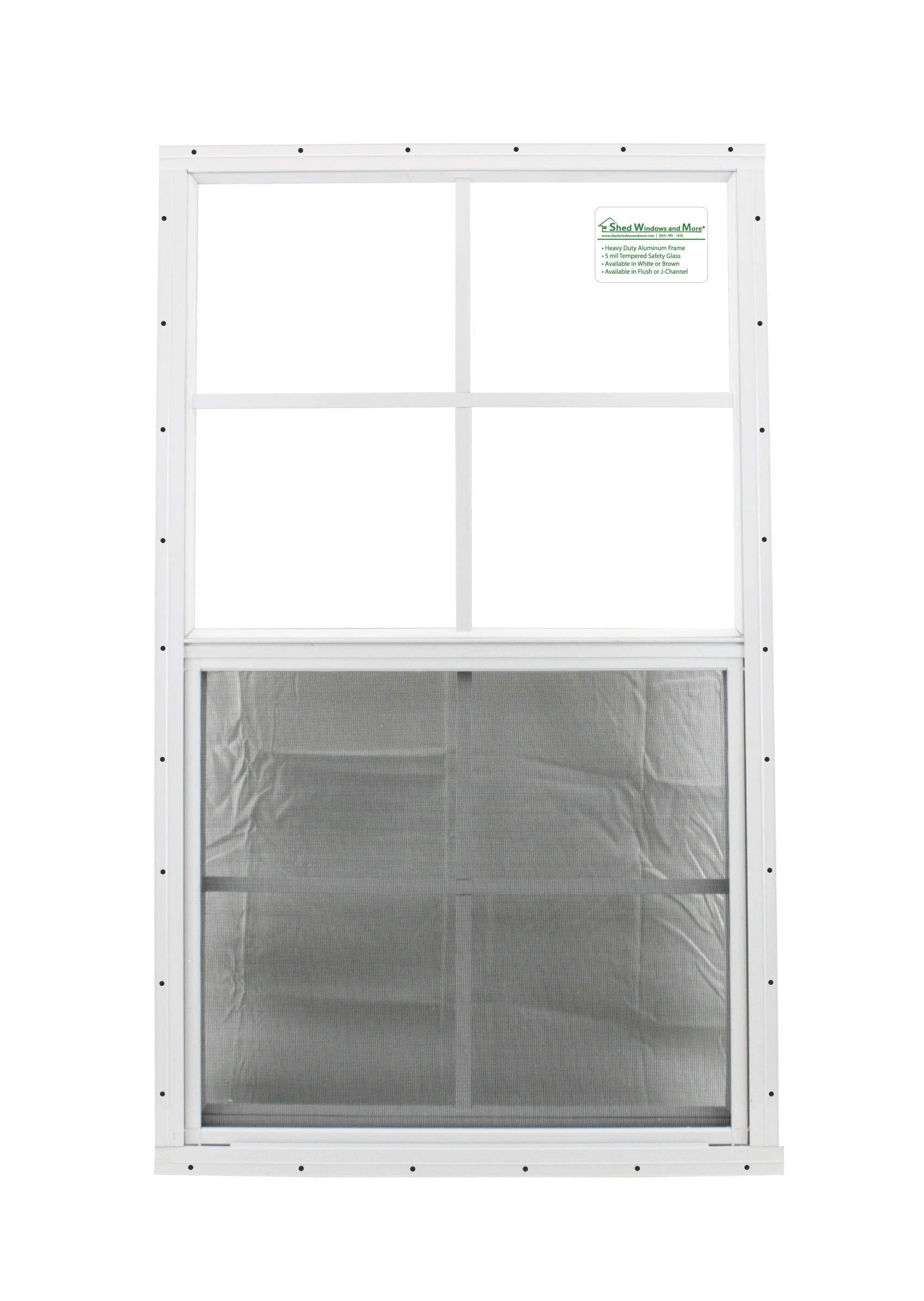 Shed Windows 24'' X 36'' White Flush Mount SAFETY/TEMPERED GLASS, Playhouse Windows, Chicken Coop Windows