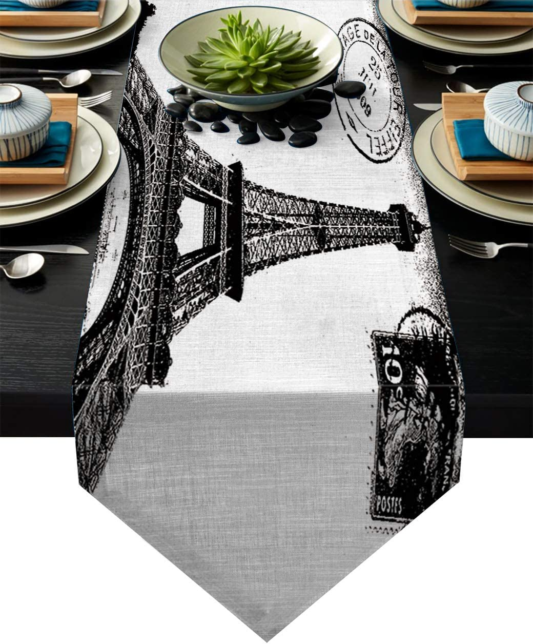 Z&L Home Linen Burlap Table Runner Dresser Scarves, Paris Eiffel Tower Stamp Table Runners for Dinner Holiday Party, Wedding, Events, Kitchen Decor Vintage Black and White 13x90Inch