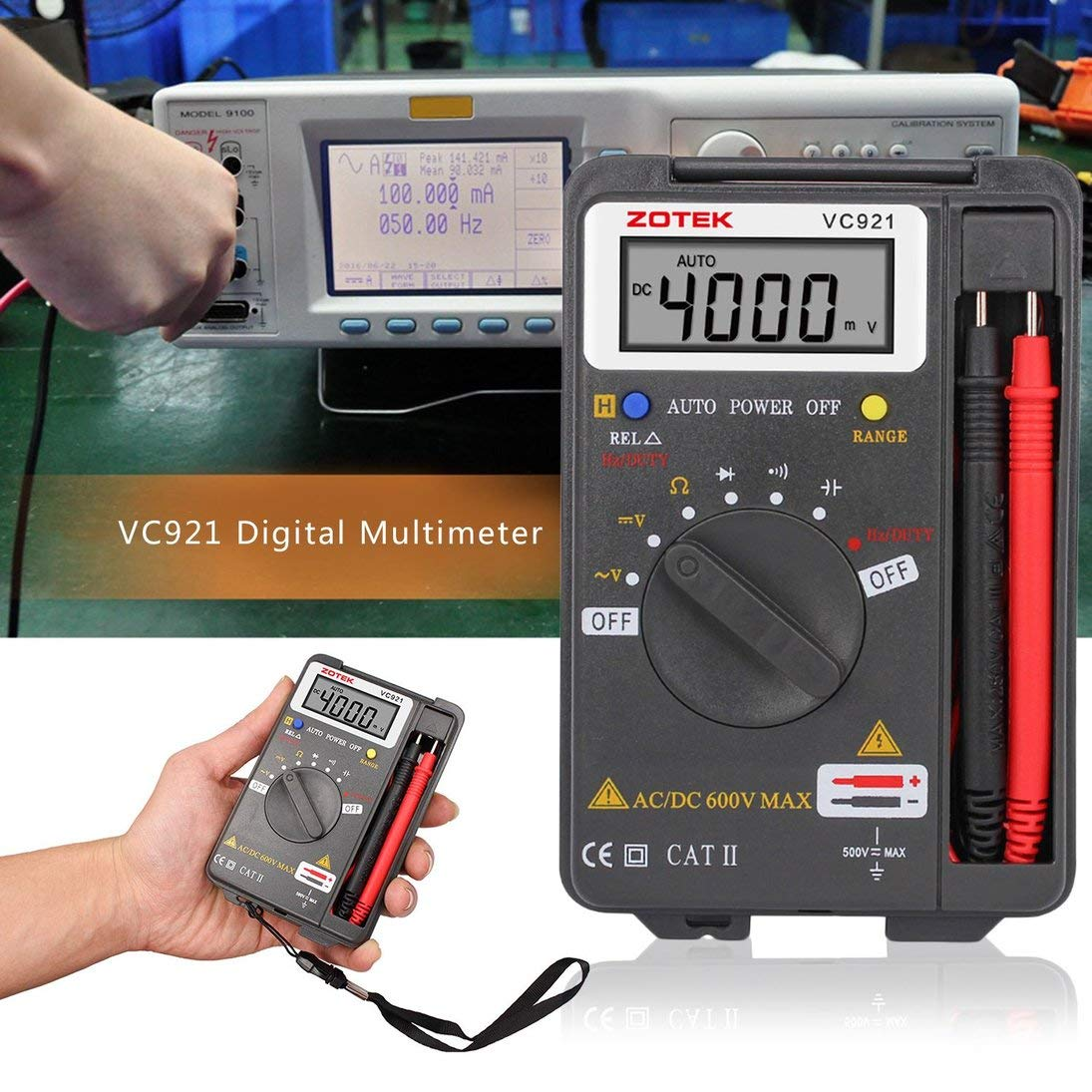 ZOTEK VC921 Mult/ímetro de Autorangaje Digital Port/átil Port/átil de 4000 Condes AC DC Volt/ímetro Ohmios Medidor de Capacitancia Mini Mult/ímetro