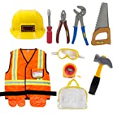 Mizzuco Kids Role Play Costume Set Construction Dress up Toy Kit with Tools for Birthday and Holiday Party