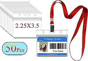 50Pcs Lanyard with ID Badge Holder Waterproof Horizontal Name Tags Card Labels Lanyards String Keys (Red)