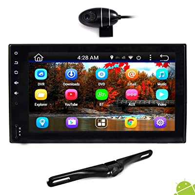 "Premium 6.5"" Double-DIN Android Car Stereo Receiver With Bluetooth and GPS Navigation - HD DVR Dash Cam and Rearview Backup Camera, Touchscreen Display W Wi-Fi Web Browsing, App Download (PLDNAND465)"