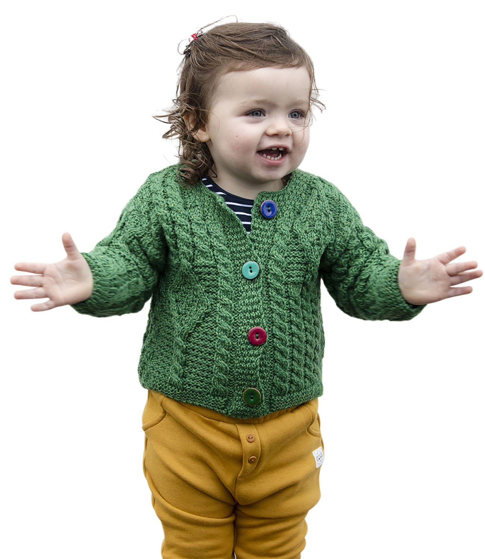 Carraig Donn Baby Wool Irish Jacket Sweater (Large, Green) by Aran Woollen Mills